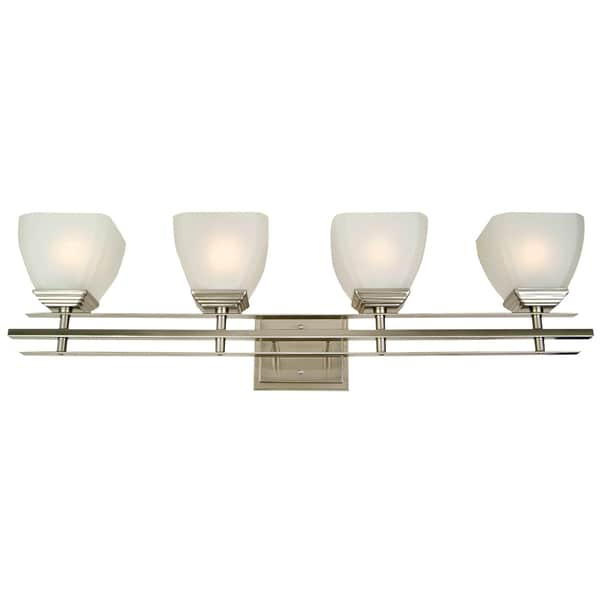 Y-Decor Michael Satin Nickel 4-light Bathroom Vanity Fixture - Free ...