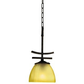Lugano Bronze Finish 1-light Venetian Mini Pendant Light Fixture with Amber Scavo Glass