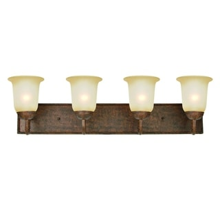 Gianni Bronze Steel 4-light Vanity Light Fixture with Alabaster Glass