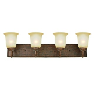Gianni Bronze/ Steel 4-light Vanity Light Fixture with Alabaster Glass