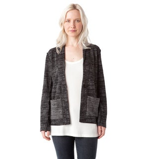 AtoZ One Button Textured Knit Cotton Jacket
