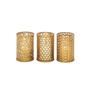 Metal and Glass Candle Holders (Set of 3)