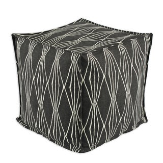 Handcut Shapes Charcoal Cotton 13-inch Seamed Bead-filled Footstool