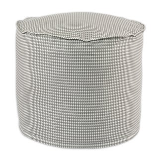 Houndstooth Storm/Twill Cotton 12.5-inch Round x 12.5-inch High Corded Beads Hassock