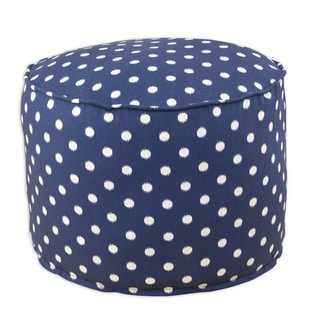 Ikat Dot Sunshine Blue Natural Cotton 12.5-inch Round x 12.5-inch High Corded Beads Hassock