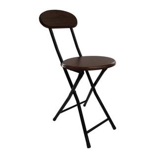 Wee's Beyond Brown Wood Folding Stool with Back