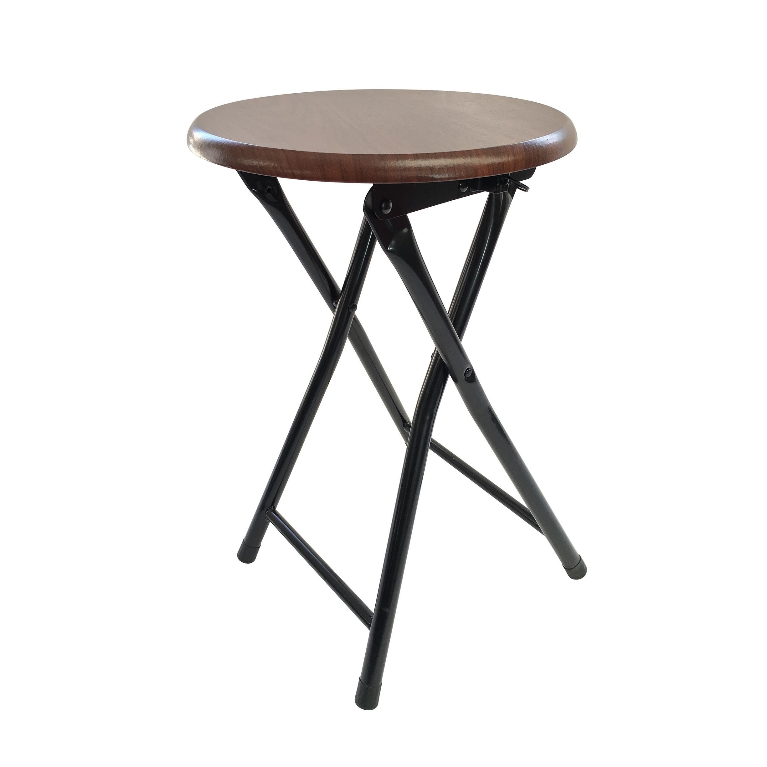 Wee's Beyond Brown Wood and Metal Folding Stool (Cherry)
