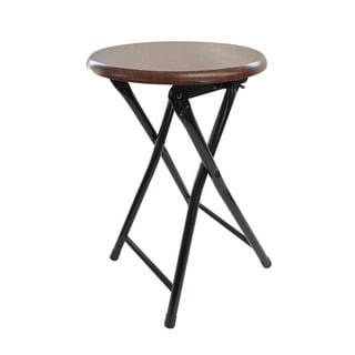 Wee's Beyond Brown Wood and Metal Folding Stool