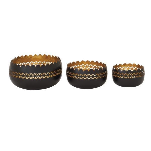 Black/Gold Iron 3-piece Candle Votive Set
