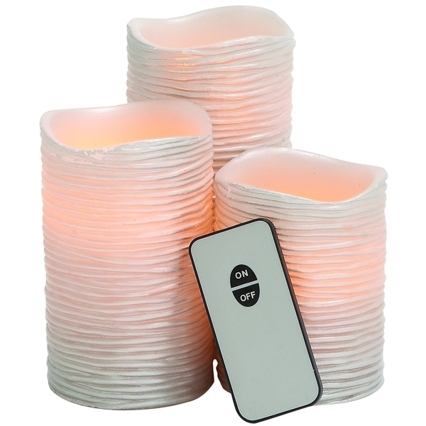 Pinkish Styled Led Remote-control Wax Candle Set