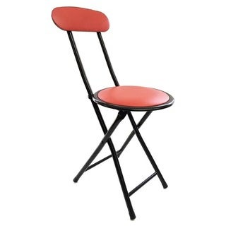 Red Cushion-top Folding Stool with Back