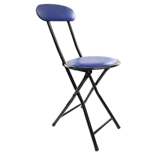 Wee S Beyond Blue Metal Cushion Top Folding Stool With