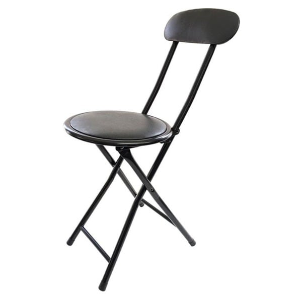 shop black metal cushion top folding stool with back free shipping on orders over 45. Black Bedroom Furniture Sets. Home Design Ideas