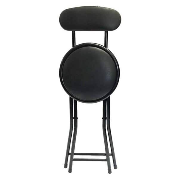 Outstanding Shop Black Metal Cushion Top Folding Stool With Back Free Pabps2019 Chair Design Images Pabps2019Com