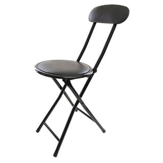 Black Metal Cushion-top Folding Stool with Back
