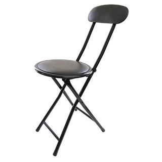 Black Metal Cushion-top Folding Stool with Back  sc 1 st  Overstock & Folding Bar Stool - Free Shipping Today - Overstock.com - 14112312 islam-shia.org