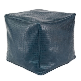 Glade Runner Pacific Blue Faux Leather 12.5-inch Square Ottoman
