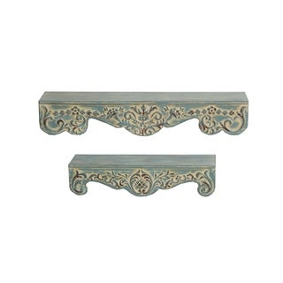 Privilege International Antique Blue Metal 2-piece Wall Shelf