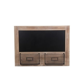Privilege International Black/Brown Wood Chalkboard Wall Decor