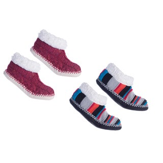 MinxNY Brooklyn Striped/Speckled Alpaca-lined Fuzzy Booties (2-pair Bundle)