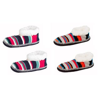 MinxNY Women's Multicolored Acrylic/Polyester Striped Fuzzy Booties (Set of 2)