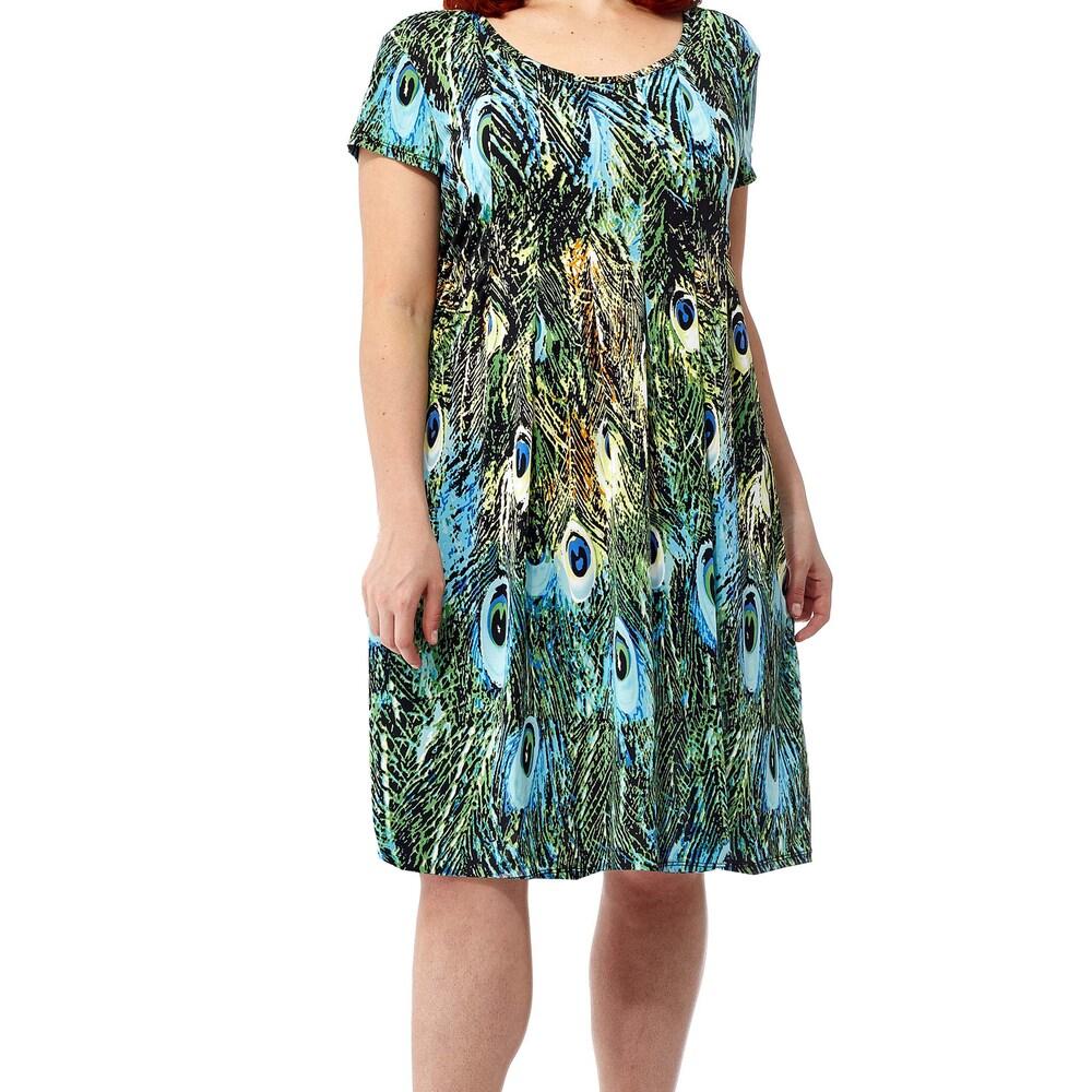 La Cera Womens Multicolor Spandex/Polyester Plus Size Printed Dress