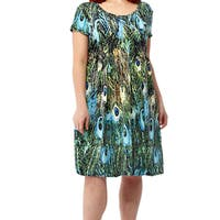 La Cera Women's Multicolor Spandex/Polyester Plus Size Printed Dress