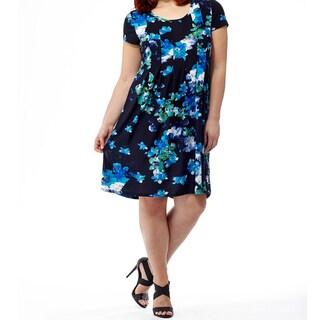 La Cera Women's Blue Polyester and Spandex Plus-size Printed Dress