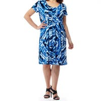 La Cera Women's Blue Polyester Plus Size Printed Dress