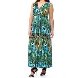La Cera Women's Plus-size Sleeveless Long Printed Dress