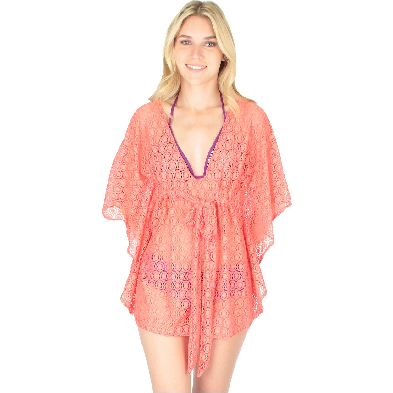 Lyss Loo Air & Sea Lace Cover-Up Top (Rose (Pink) - Large...