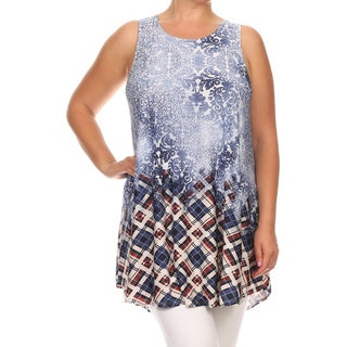 MOA Collection Women's Multicolored Polyester and Spandex Plus-size Sleeveless Top