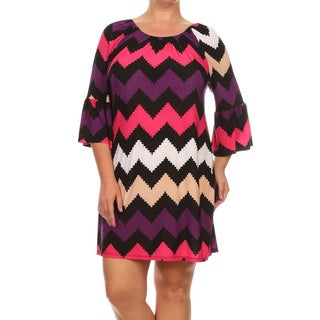 MOA Collection Women's Multicolor Polyester/Spandex Plus Size Chevron Dress