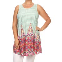 MOA Collection Women's Plus Size Sleeveless Ornate Top