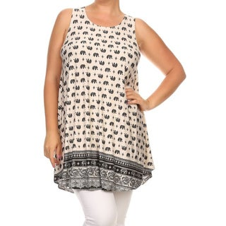 MOA Collection Women's Multicolor Polyester Plus-size Elephant Print Top