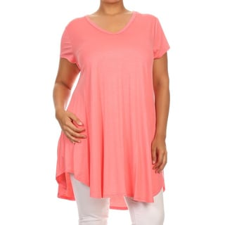 MOA Collection Women's Multicolored Rayon/Spandex Plus-size Solid Tunic