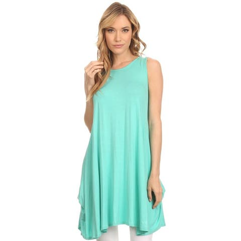 MOA Collection Women's Solid Sleeveless Tunic