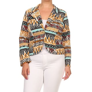 MOA Collection Women's Multicolored Polyester and Spandex Plus-size Tribal-print Blazer Jacket