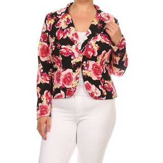 MOA Collection Women's Polyester-blend Plus-size Floral Blazer Jacket