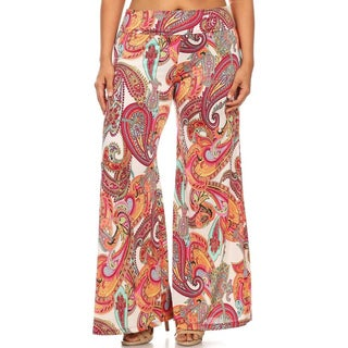 MOA Collection Women's Paisley Plus-size Palazzo Pants