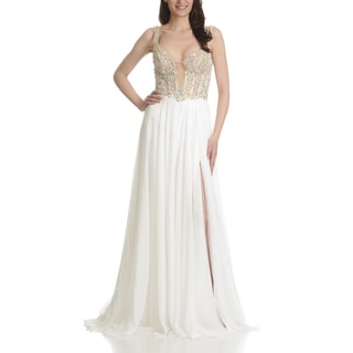 Mac Duggal Women's Ivory Polyester Embellished Corset Bodice Evening Gown