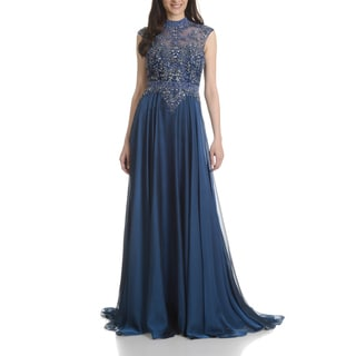 Mac Duggal Women's Rhinestone/Bead-embellished Illusion-bodice Cap-sleeve Long Evening Gown