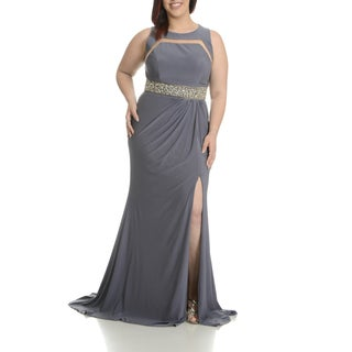 Mac Duggal Women's Grey, Pink, and Purple Polyester Plus-size Embellished Waist Belt Evening Gown