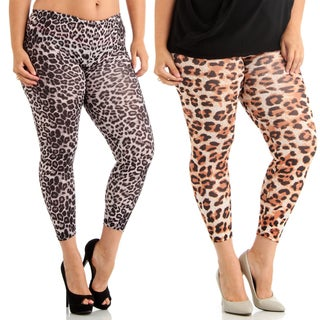 Dinamit Women's Cheetah Print Spandex/Rayon Set of 2 Plus-size Leggings