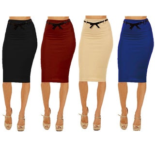Dinamit Women's Assorted Rayon/Spandex Pack of 4 High-waist Below-knee Pencil Skirts