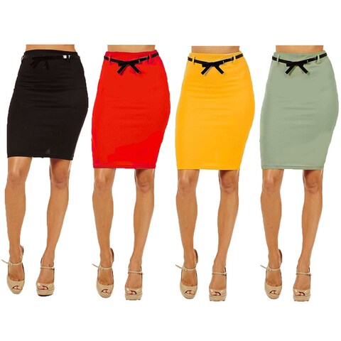 Women's Multicolor Rayon and Spandex High-waist Pencil Skirt (Pack of 4)