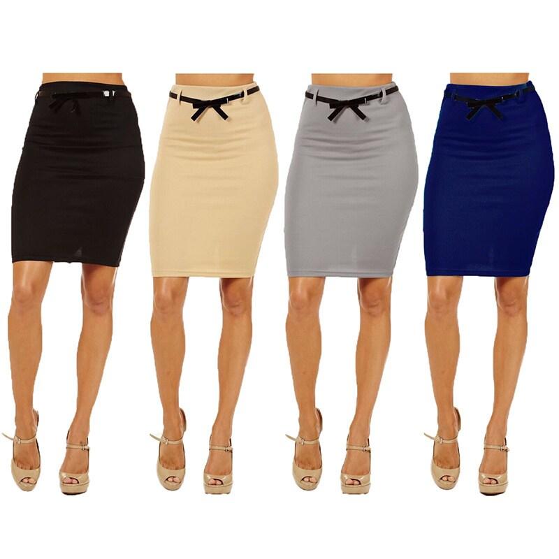 Dinamit Jeans 3 Pack Womens High Waist Below Knee Pencil Skirt