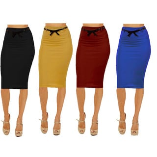 Dinamit Women's Multicolor Rayon/Spandex High Waist Below Knee Pencil Skirts (Pack of 4)