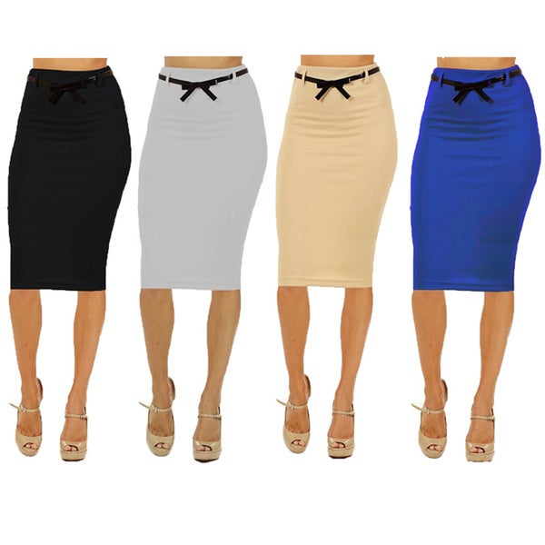 s rayon spandex high waisted below knee pencil skirt