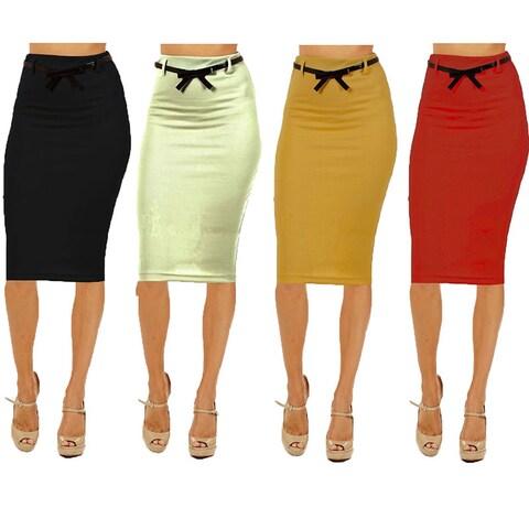 Women's High-waist Below-knee Pencil Skirt (Pack of 4)